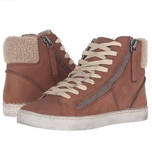 3fd6da7813c2 Brown LEATHER high top sneakers lace up shoes 8.5
